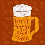 Εγγραφή χεριών βουρτσών μπύρας και Oktoberfest Στοκ Εικόνα