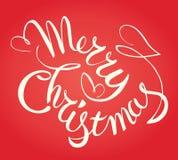 Εγγραφή χεριών Καλών Χριστουγέννων Διάνυσμα τυπογραφικό Στοκ φωτογραφία με δικαίωμα ελεύθερης χρήσης