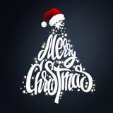 Εγγραφή χριστουγεννιάτικων δέντρων και καπέλο santas Στοκ Εικόνες