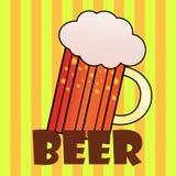 Εγγραφή Handdrawin για το σπίτι μπύρας με την κούπα της μπύρας τεχνών Αφίσα ζυθοποιείων Στοκ Εικόνες