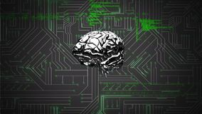 Εγκέφαλος και ένα ψηφιακό κύκλωμα με τους κώδικες προγράμματος διανυσματική απεικόνιση