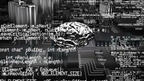 Εγκέφαλος και ένα ψηφιακό κύκλωμα με τους κώδικες προγράμματος απεικόνιση αποθεμάτων