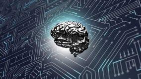 Εγκέφαλος και ένα ψηφιακό κύκλωμα απεικόνιση αποθεμάτων
