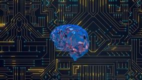 Εγκέφαλος και ψηφιακό κύκλωμα διανυσματική απεικόνιση