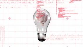 Εγκέφαλος μέσα σε μια λάμπα φωτός ελεύθερη απεικόνιση δικαιώματος
