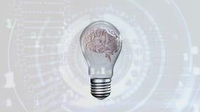 Εγκέφαλος μέσα σε μια λάμπα φωτός απόθεμα βίντεο