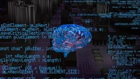 Εγκέφαλος με τους κώδικες προγράμματος και ένα υπόβαθρο ενός ψηφιακού κυκλώματος διανυσματική απεικόνιση