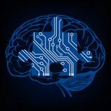 Εγκέφαλος με το γρίφο στο ύφος κυκλωμάτων Στοκ Φωτογραφία