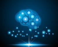 Εγκέφαλος ρομπότ AI, πέρα από το μπλε υπόβαθρο με το δίκτυο δεδομένων σε απευθείας σύνδεση, AR ελεύθερη απεικόνιση δικαιώματος
