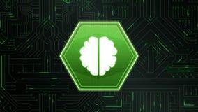 Εγκέφαλος σε ένα hexagon και ψηφιακό κύκλωμα απεικόνιση αποθεμάτων