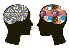 Εγκέφαλοι και έννοια σκέψης του άνδρα και της γυναίκας Στοκ Φωτογραφίες