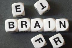 Εγκέφαλος λέξης στους κύβους παιχνιδιών Στοκ φωτογραφία με δικαίωμα ελεύθερης χρήσης