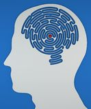 Εγκέφαλος-διαμορφωμένος λαβύρινθος μέσα στο κεφάλι ενός σχεδιαγράμματος διανυσματική απεικόνιση