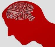 Εγκέφαλος-διαμορφωμένος λαβύρινθος μέσα στο κεφάλι ενός σχεδιαγράμματος απεικόνιση αποθεμάτων