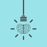 Εγκέφαλος και lightbulb έννοια ελεύθερη απεικόνιση δικαιώματος