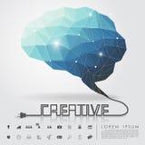 Εγκέφαλος πολυγώνων και δημιουργικό καλώδιο με το επιχειρησιακό εικονίδιο Στοκ Φωτογραφίες