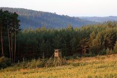 Εγκατάσταση γεώτρησης για το κυνήγι του άγριου κάπρου και των ελαφιών ROES στο δασικό υπόβαθρο Στοκ Εικόνα