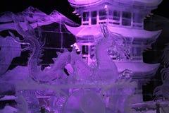 Εγκατάσταση πάγου Ο δράκος και ο κινεζικός ναός στοκ φωτογραφία με δικαίωμα ελεύθερης χρήσης