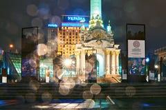 Εγκατάσταση που τιμούν την μνήμη θεϊκού του εκατό και επανάσταση της αξιοπρέπειας σε Maidan Nezalezhnosti σε Kyiv, Ουκρανία στοκ φωτογραφία με δικαίωμα ελεύθερης χρήσης