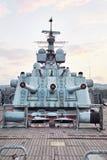 Εγκατάσταση πυργίσκων τρεις-πυροβόλων όπλων της κύριας πυρκαγιάς MK-5 BRI 152 χιλ. Στοκ Εικόνες