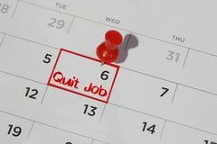 Εγκαταλείψτε την ημερομηνία εργασίας στο ημερολόγιο στοκ εικόνες με δικαίωμα ελεύθερης χρήσης