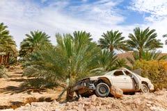 Εγκαταλειμμένα ξεσκονισμένα συντρίμμια του συντριφθε'ντος passanger αυτοκινήτου κοντά στο φοίνικα ημερομηνίας τ στοκ εικόνες