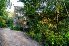Εγκαταλειμμένη αποθήκη στο δάσος Στοκ εικόνα με δικαίωμα ελεύθερης χρήσης