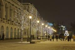Εγκαταλειμμένη οδός στην πόλη της Βαρσοβίας που διακοσμείται Στοκ εικόνα με δικαίωμα ελεύθερης χρήσης