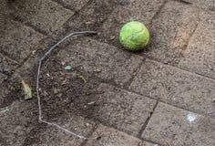 Εγκαταλειμμένη σφαίρα αντισφαίρισης και ένας ξηρός κλαδίσκος Στοκ Φωτογραφία