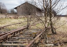 Εγκαταλειμμένος δρόμος ραγών Στοκ Φωτογραφίες