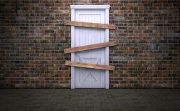 Εγκαταλειμμένος και επιβιβασμένος επάνω στην παλαιά πόρτα διανυσματική απεικόνιση