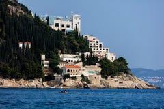 Εγκαταλειμμένος πέντε αστέρων πανοραμικός πυργίσκος ξενοδοχείων στοκ φωτογραφία με δικαίωμα ελεύθερης χρήσης