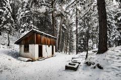 Εγκαταλειμμένο εξοχικό σπίτι στο δάσος και το χιόνι Στοκ φωτογραφία με δικαίωμα ελεύθερης χρήσης