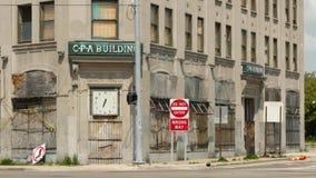 Εγκαταλειμμένο κτήριο μείωσης στο Ντιτρόιτ απόθεμα βίντεο