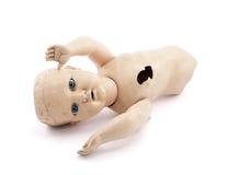 Εγκαταλειμμένο μωρό - κούκλα στοκ εικόνα