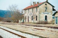εγκαταλειμμένο τραίνο σταθμών Στοκ Εικόνες