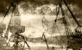 Εγκαταστάσεις γεώτρησης στο υπόβαθρο των δολαρίων και των μαύρων & άσπρων φωτογραφιών γραφικής παράστασης, διπλή έκθεση Στοκ Εικόνες