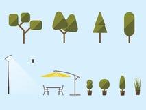 Εγκαταστάσεις και έπιπλα κήπων Ένα σύνολο θάμνων, δέντρα Απεικόνιση αποθεμάτων