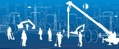 Εγκαταστάσεις κατασκευής Εργασία ανθρώπων Μηχανήματα, γερανοί και εκσακαφείς βιομηχανίας Αστική απεικόνιση κτηρίων υποδομής διάνυ διανυσματική απεικόνιση