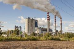 Εγκαταστάσεις παραγωγής ενέργειας άνθρακα σε Patnow - Konin, Πολωνία, Ευρώπη. Στοκ Εικόνες
