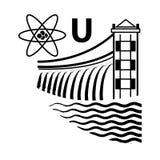 Εγκαταστάσεις πυρηνικής και υδρο παραγωγής ενέργειας Έμβλημα τεχνολογίας και βιομηχανίας απεικόνιση αποθεμάτων