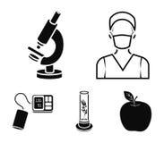 Εγκαταστάσεις τεχνητές, νοσοκόμα, μικροσκόπιο, tonometer Καθορισμένα εικονίδια συλλογής ιατρικής στο μαύρο απόθεμα συμβόλων ύφους ελεύθερη απεικόνιση δικαιώματος