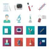 Εγκαταστάσεις τεχνητές, νοσοκόμα, μικροσκόπιο, tonometer Καθορισμένα εικονίδια συλλογής ιατρικής στα κινούμενα σχέδια, επίπεδο απ απεικόνιση αποθεμάτων