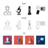 Εγκαταστάσεις τεχνητές, νοσοκόμα, μικροσκόπιο, tonometer Καθορισμένα εικονίδια συλλογής ιατρικής στο Μαύρο, επίπεδος, διανυσματικ διανυσματική απεικόνιση