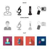 Εγκαταστάσεις τεχνητές, νοσοκόμα, μικροσκόπιο, tonometer Καθορισμένα εικονίδια συλλογής ιατρικής στο μαύρο, επίπεδο, μονοχρωματικ διανυσματική απεικόνιση
