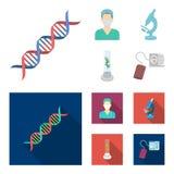 Εγκαταστάσεις τεχνητές, νοσοκόμα, μικροσκόπιο, tonometer Καθορισμένα εικονίδια συλλογής ιατρικής στα κινούμενα σχέδια, επίπεδο απ διανυσματική απεικόνιση