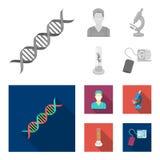 Εγκαταστάσεις τεχνητές, νοσοκόμα, μικροσκόπιο, tonometer Καθορισμένα εικονίδια συλλογής ιατρικής στο μονοχρωματικό, επίπεδο απόθε διανυσματική απεικόνιση