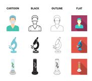 Εγκαταστάσεις τεχνητές, νοσοκόμα, μικροσκόπιο, tonometer Καθορισμένα εικονίδια συλλογής ιατρικής στα κινούμενα σχέδια, ο Μαύρος,  απεικόνιση αποθεμάτων