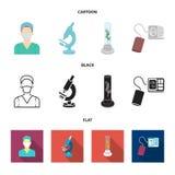 Εγκαταστάσεις τεχνητές, νοσοκόμα, μικροσκόπιο, tonometer Καθορισμένα εικονίδια συλλογής ιατρικής στα κινούμενα σχέδια, μαύρο, επί απεικόνιση αποθεμάτων