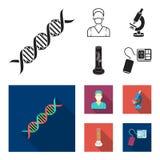 Εγκαταστάσεις τεχνητές, νοσοκόμα, μικροσκόπιο, tonometer Καθορισμένα εικονίδια συλλογής ιατρικής στο μαύρο, επίπεδο απόθεμα συμβό διανυσματική απεικόνιση